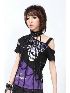 Black and Purple/Red Gothic Punk T-Shirt for Women