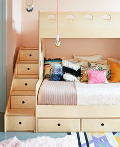 Kids bedroom with plywood bunkbed loft via @thouswellblog