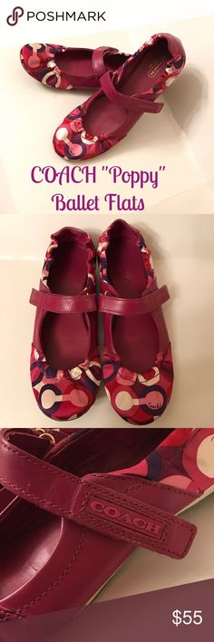 """COACH POPPY BALLET FLATS EUC!!!  Oh so cute and compy!!!  Coach Poppy """"CARYL SIGNATURE"""" collection Ballet Flats with Beautiful colors, Dark Pink leather trim and inserts, velcro straps closures. Size 7.5 Coach Shoes Flats & Loafers"""