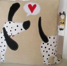 Fabric dog pillow. (Sniffing butts!)