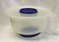 3 PC Tupperware 3 Qt Batter Bowl w Handle 2 Lids Non Slip Base Storage | eBay
