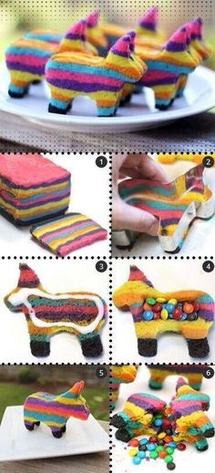 It wouldn't be a piñata without a candy surprise in the middle! These colorful burro piñata sugar cookies make a fun and clever Cinco de Mayo treat. Pinata Cookies, Pinata Cake, Pinata Party, Cookies Et Biscuits, Sugar Cookies, Mexican Food Recipes, Dessert Recipes, Fiestas Party, Taco Party
