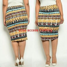"Plus size skirt Aztec tribal print Pencil fitted ***RUNS BIT SMALL Price Firm unless bundled. Comment below which size you need. Please keep in mind Color may vary due to many reason.Thanks! Material: Polyester + Spandex Length:Knee length or below depends on height. total length= 27"" Style : Straight, Pencil Color: Multi-Color Elastic waist. Medium weight knit Stretchy fabric. Bodycon fitted. Perfect for office, formal or casual use Measurements 1XL = Waist : 32-36"" Hips: 36-40"" Total…"