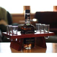 Shot glass shooter set wood stand bar set man cave by KMGstore, $35.00