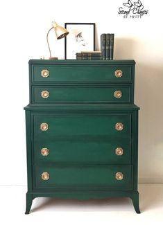 Chalk Paint® by Annie Sloan in Amsterdam Green and Black Chalk Paint® Wax make a stunning combination for a dresser with classic lines and antique gold hardware. Project by Second Chances by Misty. LOVE this color for white dresser