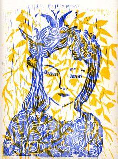 la rêveuse - gravure sur bois - The dreamer - woodcut 2013 by Valérie Belmokhtar