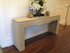 Custom Made Upholstered Console Table.