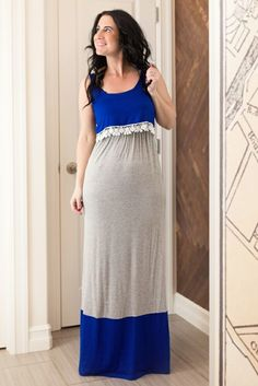 Image of Cobalt and Grey Maxi with Crochet Overlay