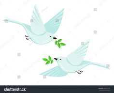 Flying dove bird couple and branch with leaves vector flat style illustration. Minimalistic geometrical shapes design with cute bird, animal illustration. White dove isolated on white. Symbol of peace