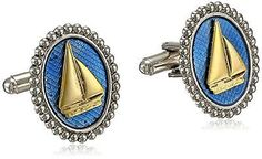 1928 #jewelry gold and #silver-tone blue #enamel oval sail boat cuff links,  View more on the LINK: http://www.zeppy.io/product/gb/2/272290319704/