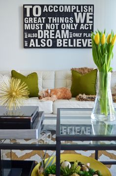 Decorating with green is the easiest way to bring freshness into your home. Design Tip: Start with decorative pillows to instantly transform the look of a sofa. Next, add fresh flowers or succulents to brighten up your space. (Sponsored Pin)