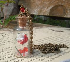 Painting The Roses Red Alice In Wonderland Glass Vial Pendant