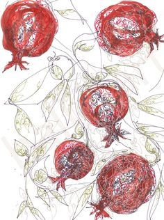 Red Pomegranate Art Ruby Red art print Christmas gift by BalletArt Red Wall Art, Red Art, Gifts For Art Lovers, Lovers Art, Swan Drawing, Pomegranate Art, Pomegranate Drawing, Kitchen Artwork, Christmas Wall Art