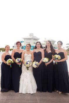 Navy bridesmaid dresses // Photographer: Katie Nesbitt Photography / Planning & Design: Antonia Christianson Events // see more: http://theeverylastdetail.com/2013/09/02/nautical-eclectic-navy-and-aqua-wedding/