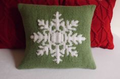 Christmas light green knit cushion cover snow by Adorablewares