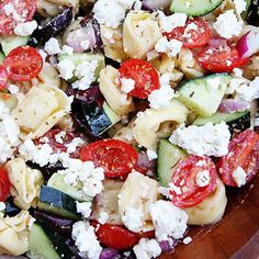 Greek Tortellini Salad Recipe on twopeasandtheirpo… Greek salad just got better! Greek Tortellini Salad Recipe on twopeasandtheirpo… Greek salad just got better! Lebanese Recipes, Greek Recipes, Think Food, I Love Food, Greek Tortellini Salad, Tortellini Pasta, Cheese Tortellini Recipes, Pasta Salad With Feta, Gluten Free Tortellini