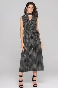 Black Sleeveless Reverse Houndstooth Button Up Midi Dress - (Price: $142.00)      #fashionstyle #fashionweek #fashionable #stores #style  #shopping #dressesonline #dress #womens #womenstyle #suits