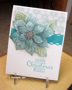 heat embossed the poinsettia's with Silver EP on the Vellum card stock. Then she sponged Classic ink underneath and cut the flowers out by hand. I believe she used Pear Pizzazz and Bermuda Bay or Pool Party ink. It's multi-layered and really shines; absolutely stunning.
