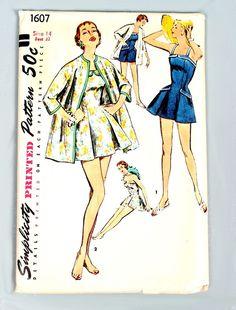 Vtg 50s 1950s BATHING SUIT & COAT Sewing Pattern swimsuit swimwear 14 32 Bust