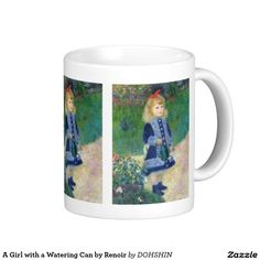A Girl with a Watering Can by Renoir ベーシックホワイトマグカップ
