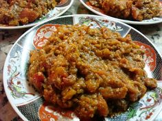 Moroccan Zaalouk - A Wonderfully Zesty Eggplant and Tomato Dip: Zaalouk - Moroccan Pureed Salad of Eggplant and Tomatoes