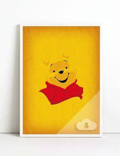 Winnie the Pooh Art Minimalist Pooh Retro Style by TheRetroInc, $10.00