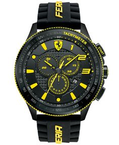 Style with speed at the forefront. A racing-inspired Scuderia collection watch from Scuderia Ferrari. | Black silicone strap with yellow logo | Round black ion-plated steel case, 48mm, tachymeter scal