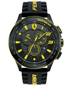 Scuderia Ferrari Men's Chronograph Scuderia Black Silicone Strap Watch 48mm 830139 - Men's Watches - Jewelry & Watches - Macy's