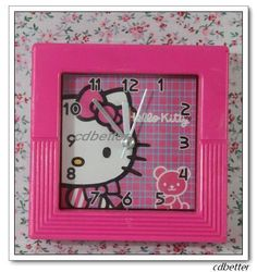 New Peach Hello Kitty Clocks Alarm Clocks AA Battery Kids Girls