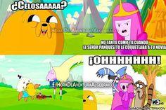 Hora de aventura. Jake el perro. Dulce princesa. ¿Celosa?... Celos, celos, celos, ohhhhh. Cartoon Network.