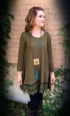 The Bling Box - Lace Trim Tunic in Olive 11295B, $48.99…