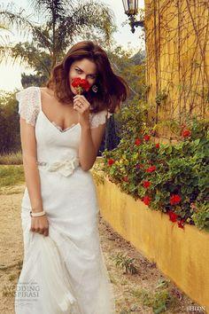 flutter cap sleeves v neckline  ivory tulle overlay a line bridal gown tallis villa sophia california photo shoot