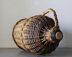 Antique French Demi John Glass Bottle Protected With Wicker 1930s