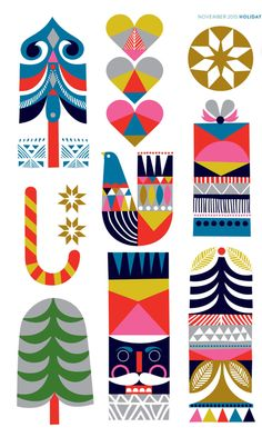 Sanna Annukka x Nordstrom Holiday 2015 Happy Mundane Christmas Design, Christmas Art, Xmas, Christmas Poster, Christmas Shopping, Graphic Design Inspiration, Creative Inspiration, Christmas Illustration, Illustration Art