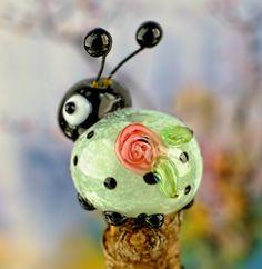 Lucy........ lampwork beetle bug bead...... sra by DeniseAnnette on Etsy