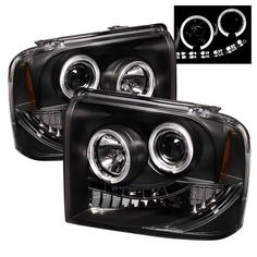 Ford F250/350/450 Super Duty 05-07 Projector Headlights - LED Halo- LED ( Replaceable LEDs ) - Black - High H1 (Included) - Low H1 (Included)