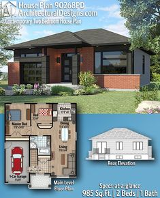 Architectural Designs Modern House Plan 90268PD - 985 Sq Ft, 2 Bedrooms, 1 Full Bath, 1-Car Garage. Contemporary House Plans, Modern House Plans, Two Bedroom House, Electrical Layout, Building Section, Sims 4 Houses, Shared Bedrooms, Sliding Glass Door, Car Garage