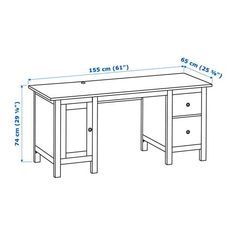 HEMNES Desk, white stain, You can collect cables and extension cords on the shelf under the table top, so they're hidden but still close at hand. Cable outlets for easy cable management. Grey Desk, Black Desk, Ikea Hemnes Desk, Ikea Living Room, Ikea Bedroom, Living Rooms, Legal Size Paper, Desk Pad, Under The Table
