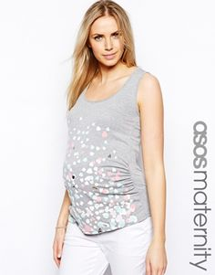 ASOS Maternity Exclusive Vest With Foil Heart Print