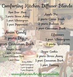 Diffuser Blends for a nostalgic trip to Grandma's Kitchen. Comforting Kitchen smells. For any season: fall, winter, spring or summer.