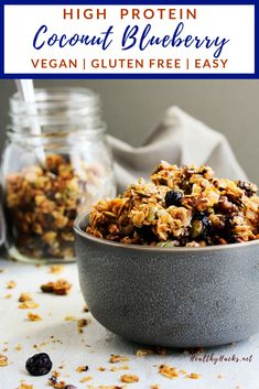 This healthy homemade granola recipe for high protein crunchy clustery coconut blueberry granola needs to go on your to-bake list ASAP! It's so easy to make and is perfect for a quick breakfast or on the go snack. Pour over your favorite milk or eat it dry for an extra pack of crunch. You can't go wrong with some big ol' granola clusters and the blog post has great tips on how to get just that! #HealthyHacks #crunchygranola #highprotein #highproteinsnack Healthy Fruit Desserts, Healthy Snacks For Kids, Vegan Snacks, Healthy Summer, Vegan Food, Healthy Eats, Healthy Recipes, Vegan Granola, High Protein Snacks