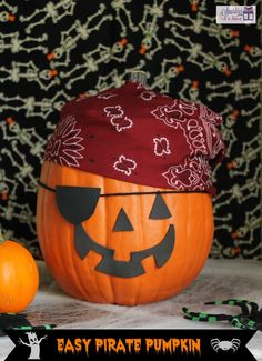 """Adorable Pirate """"Jack o Lantern"""" by Sparkles And A Stove.com A bandana and some stickers and Aaargh matey trick or treat!"""