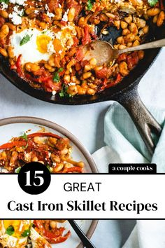 These cast iron skillet recipes are the essential foods to make in this versatile pan! Try everything from a scramble to pizza to dessert. | healthy breakfast ideas | healthy dinner recipes | dessert recipes | breakfast skillet recipes | iron skillet recipes | campfire nachos | #castiron #castironskillet #castironrecipes #skilletrecipes #castironskilletrecipes Cast Iron Skillet Pizza, Iron Skillet Recipes, Cast Iron Recipes, Skillet Meals, Healthy Food Options, Healthy Dinner Recipes, Breakfast Recipes, Breakfast Skillet, Dessert Healthy