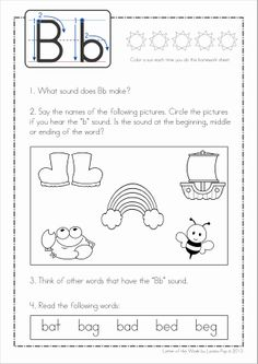 Phonics Letter of the Week Bb {FREE}. A HUGE unit (81 pages) with all that you need for a letter of the week curriculum. A page from the unit: reading homework page