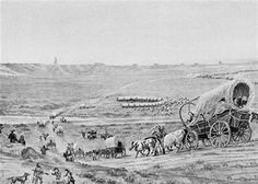This undated file photo shows artwork showing the Oregon trail.  In 1849, Elisha Barnes, my 3rd Gr Grandfather left his family in Missouri onward to seek gold and a better life in California.