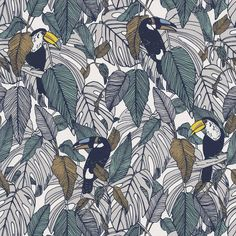 A refreshing graphic design, with playful Toucans and tropical leaves. In a modern blue, grey and yellow colour scheme. Order a sample today at F&P Interiors Trees To Plant, Plant Leaves, Motif Jungle, Tropical Wallpaper, Bird Wallpaper, Casamance, Latest Wallpapers, Wallpaper Online, Motif Floral