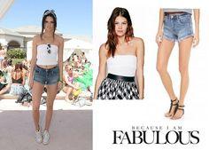Shop Celebrity Closet: Kendall Jenner Free People Honey Textured Tube Top & Blank Denim Cutoff Shorts  - http://www.becauseiamfabulous.com/2014/04/kendall-jenner-free-people-honey-textured-tube-top-blank-denim-cutoff-shorts/