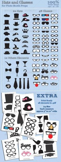 Hats and Glasses for Photo Booth Props - GraphicRiver Item for Sale by lilly.kaisheva
