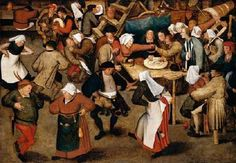 BRUEGHEL, Pieter the Younger (b. 1564, Brussels, d. 1638, Antwerpen)   Click!	 The Wedding Dance in a Barn  c. 1616 Oil on oak panel, 74 x 106 cm Private collection  There are several autograph versions of this painting. The composition derives from Pieter Bruegel the Elder.