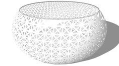 Visualização grande do modelo 3D de TABLE BASSE DURBAN BLANC, Maisons du monde. Réf: 139521 Prix: